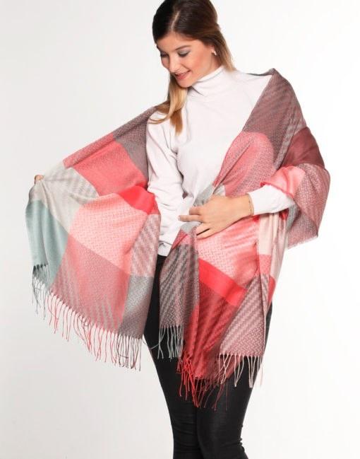 shawl multi jacquard red
