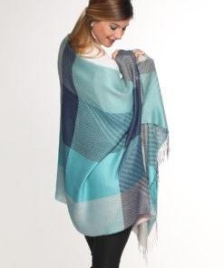 shawl multi jacquard blue